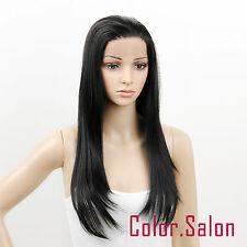Hand Tied Synthetic Lace Front Full Wigs Straight Long Wavy Off Black 96#1B