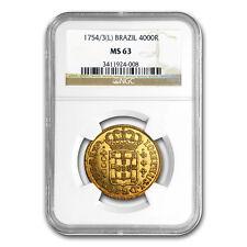 1754/3-L Brazil Gold 4000 Reis Jose I MS-63 NGC