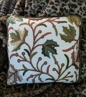 Vintage Throw Pillow Autumn Fall Crewelwork Leaves Zipper Home Accent Decorating