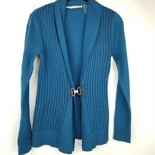 Soft Surroundings women SZ XS teal causal career cotton light knit hook Sweater