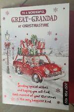 Great-Grandad Christmas Card Embossed Christmas Teddy Bear And Sentiment Verse