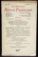 La Nouvelle revue française 114 juin 1962 TBE
