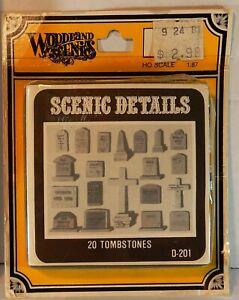 HO SCALE WOODLAND SCENICS 20 TOMBSTONES #201 SCENIC DETAILS NOS