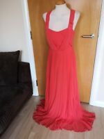 Ladies OASIS Dress Size 14 Coral Orange Long Maxi Party Evening Prom Wedding
