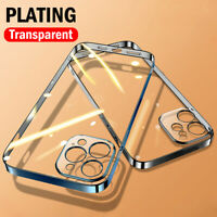 For iPhone 12 Pro Max 11 XS XR 7 8 Plus Ultra-thin Plating Soft Clear Case Cover