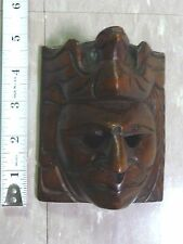 """Hand Carved Wooden Mask from Latin America (4.5"""" long) Flying Quetzel on Top"""