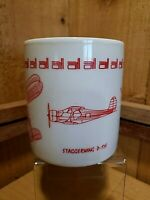 Staggerwing D-175Bi-Plane Aviation Pilot Plane Airplane Flying White/Red Cup/Mug