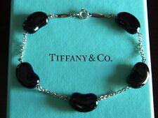 ad155bbd5 NIB Tiffany & Co Elsa Peretti 15mm Bean Bracelet Sterling Silver Black Jade  ...
