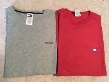 Vintage Tommy Hilfiger T shirt Lot Flag Logo Spell Out Red SZ L & Grey SZ XL