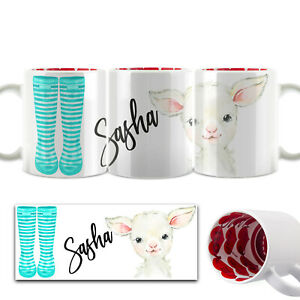Personalised Mug, Customised with Name-Cow Flower Red Heart Valentine Cup (11oz)