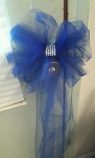 10 Tulle Wedding Pew Bow Royal Blue with bling Rush Orders Avail