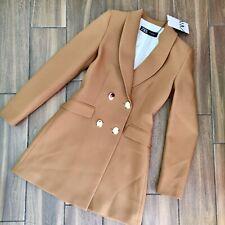 Zara Camel Frock Coat Blazer Dress Size S