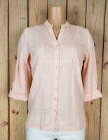 KIM ROGERS Womens Size Small 3/4 Sleeve Shirt Vneck Button Down Peach Top