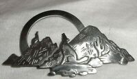 """JJ"" Jonette Jewelry Silver Pewter 'Wolf Coyote Mountains' Brooch Pin 1988"