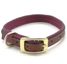 "WEAVER Traditions West Nylon Dog Collar, Leather Overlay, 15"" x 3/4"", Burgundy"