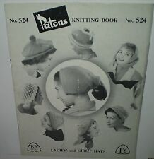 VINTAGE PATONS KNITTING BOOK No524 WOMENS LADIES AND GILRLS HATS 1940s  (KN202)
