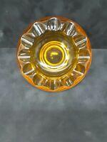 Vintage Art Deco round amber Colored Ashtray