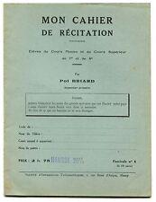 mon cahier de Récitation Cahier de l'Elève N°1 Pol Briard CM 7e 8e 1920-30 Vert