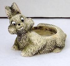 Collectible Porcelain Gray Bunny Rabbit Tea Light Candle Holder Figurine Guc
