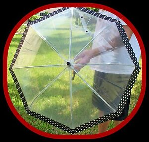 NEW FULL SIZE SUN & RAIN PROTECTION UMBRELLA BUMBERSHOOT CLEAR PLASTIC BLACK DOT