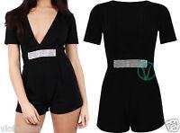 Womens Ladies Black Playsuit Party Mini Romper V Neck Short Jumpsuit 8 10 12 14