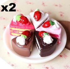 2PC Miniature Dollhouse Triangle Cake Re-ment Garden Fairy Bonsai Decor Craft