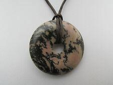 Una bella Rhodonite Ciondolo CIAMBELLA su una Collana Corda Cerato. (28 *)