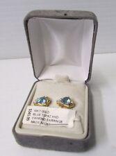 10 Karat Gold and Blue Topaz Diamond Earrings ~ Made in U.S.A.