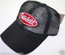 peterbilt all mesh trucker  black semi diesel truck hat cap pete ball vented