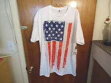 "Spirit Of America "" NWT "" Size XL ( 46-48 ) White Grunge Flag T-Shirt"
