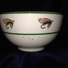 GIBSON PACIFIC TROUT SET OF 2 CEREAL BOWLS FISHING LURES GREEN BAND SLIGHT CHIPS
