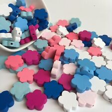 30X Flower Shape Wood Beads 25mm Pastel Colour Floral Wooden Craft Bead Charm