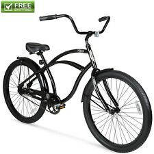 "Beach Cruiser Bike 26"" Men Black Comfort Aluminum Frame Balloon Tire Bicycle New"