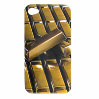 Protective Gold Bar Print Plastic Back Case for iPhone 4 4G