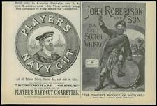 1893 Antique Print - ADVERTISING Players Navy Cut John Robertson Whisky (52)