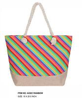 Rainbow Multicolor Striped Pride Canvas Handbag Tote Beach Shopping Bag Zippered
