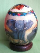 Lovely Large Decoupage Ostrich Egg with African Animals Design