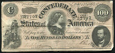 T-65 1864 $100 ONE HUNDRED DOLLARS CSA CONFEDERATE STATES OF AMERICA