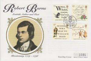 **  MERCURY SILK COVER BICENT DEATH OF BURNS FIRST DAY COVER JAN 25TH 1996 **