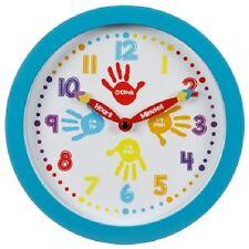 Reloj de pared aprender a decir la hora-educación, color hermoso borde exterior (azul)