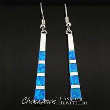 Wide 4mm Stick Ocean Blue Fire Opal Silver Jewellery Dangle Drop Earrings