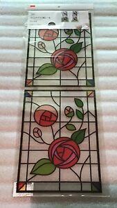 Decorative Flower Design Stain Glass Window Sticker. Brand New. 62 cm x 23 cm.