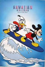 "DISNEY ""HAWAIIAN HOLIDAY"" POSTER - Mickey Mouse & Donald Duck Riding Surfboard"