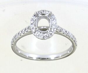Real Halo Diamond Engagement Wedding Oval Ring Jewelry 14K White Gold 0.35CT