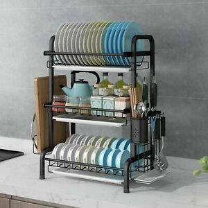 Large Heavy Duty Kitchen Dish Drainer Cutlery Plates Holder Sink Drip Rack UK