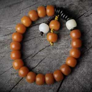 10mm Fashion yellow bodhi root Coconut spacers Barrel beads bracelet Calming