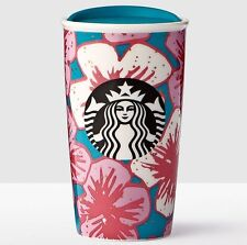NEW Starbucks 2017 CHERRY BLOSSOMS  BLUE Double Wall Traveler Mug/Tumbler 12 oz