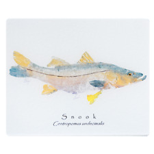 """Realfish Gyotaku Series: """" Snook """" on white cutting boards made in the USA"""