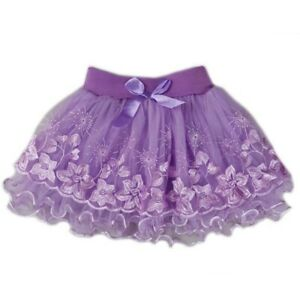 Wenchoice Baby Girls Purple Floral Print Lace Ruffled Tutu Skirt S (9-24M)