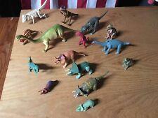 15pc LOT Plastic Toy DINOSAURS T-Rex brachiosaurus triceratops jurassic park vtg